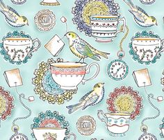 LARGE SCALE VERSION - Afternoon Tea fabric by heatherdutton on Spoonflower - custom fabric