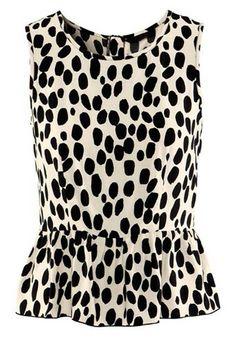 Black&White Polka Dot Collarless Zipper Polyester Fibre Vest