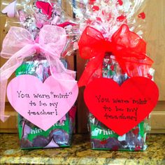 "Girl Scout Thin Mints wrapped up for a Valentine's Day teacher gift. ""you were mint to be my teacher!"""
