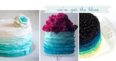 WOW! blue ombr, blue flowers, wedding cakes, blue cakes, fuschia wedding cake, ombr cake