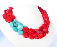 Red and Turquoise Necklace Asymmetrical by WildflowersAndGrace