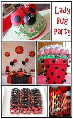 Polka Dot lanterns, Lady Bug balloon centerpieces, pretzels & cake