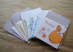 Free Printable Thank You Cards  Print Your Own DIY Thank You Notes With Matching Envelopes & HOW TO