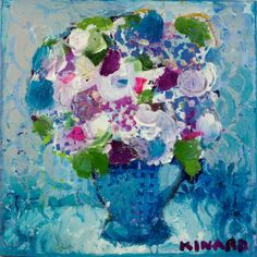Violets of Blue 16x16 mixed media Anne Irwin Fine Art