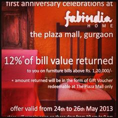 Fabindia Home Store First Anniversary Celebrations At The Plaza Mall Gurgaon 24th 26th