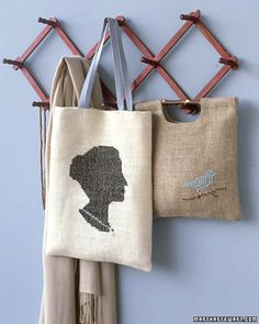 cross stitch tote with silhouette