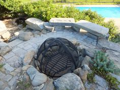 The fire pit overlooks the pool