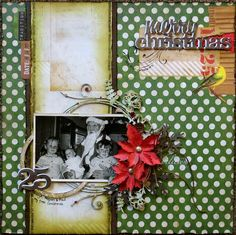 Merry Christmas Scrapbook Page By Megan Gourlay featuring the Christmas Collage collection for the September Sketch Challenge. #BoBunny @weemegs