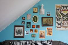 Jamie's Wild Blue Yonder - collage above the bed