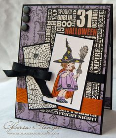 handmade Halloween card from Scraps of Life blog ... adorable vintage image of a little girl in her witch costume ... layers of Halloween theme papers ... black ribbon  ... great card! ... Crafty Secrets image