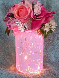 Shabby Cottage Chic Roses Lights Floral Arrangement in Pink Mason Jar | eBay