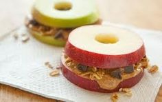 Apple, Peanut Butter and Choc chip Sandwiches