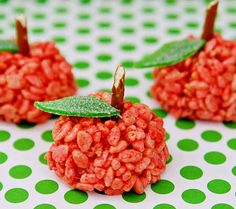 Fall Party Food Craft-Apple made with Rice Krispies.