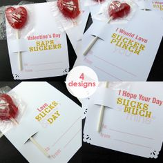 Love Sucks Sucker Cards Set of 12 Anti Valentine Cards by byMMcC