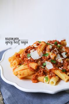 rigatoni with spicy beef ragu