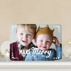 Magically Merry - #Christmas Cards by Elk Design for Tiny Prints feature a bold white font