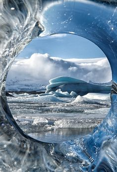 Beautiful ice window with a view.
