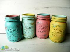 Miami inside/outside pint - Shabby Chic Hand Painted and Distressed Mason Jars - Vases