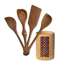 Set of Four Left Handed Handmade Cherry Wood Cooking Tools
