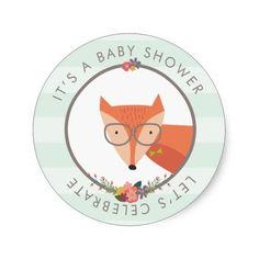 Fox Boy Baby Shower Round Stickers