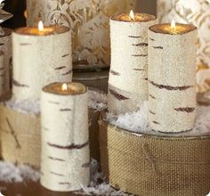 beaded birch pillar candles