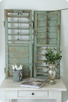 Love The Shutters decor, table displays, old shutters, shabbi chic, interiors, green, front doors, back porches, aqua