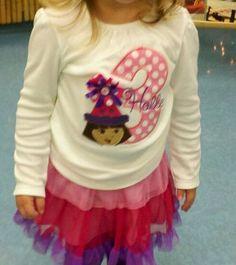 Custom Monogrammed Dora Birthday shirt Applique by amandajohne, $24.95