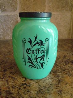 Vintage Hazel Atlas Fired On Jadite Green Depression COFFEE Canister