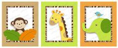 Wildlife Jungle Animal Printable Nursery Wall Art Instant Download art printabl, jungles, anim nurseri, babi quilt, nursery wall art, anim printabl, playroom art, jungle animals, jungl anim