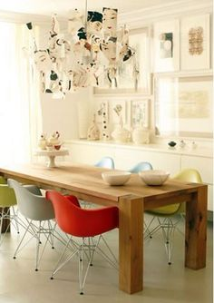 colorful chairs, mixed chairs, wall art