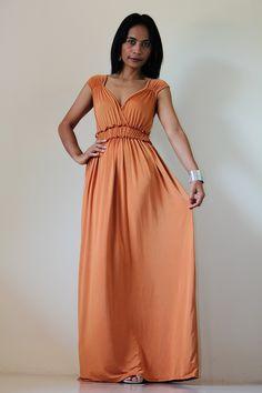 Long Maxi Dress Terracotta Orange: Elegant Collection. $55.00, via Etsy.