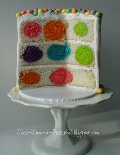 Polka Dots Hidden Inside Twice Baked Cakes   Colored cake balls inside cake batter --> bake --> tadaaa !