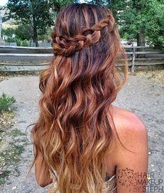 long boho hair, brunette  ombre, braid.