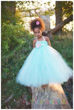 Mint Flower Girl Dress with Handmade Flower Sash - Sizes 5 thru 7. $100.00, via Etsy.