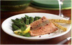 Steamed Salmon with Pink Peppercorns and Snow Peas in the Tupperware Smart Steamer ~ Directions in comments.