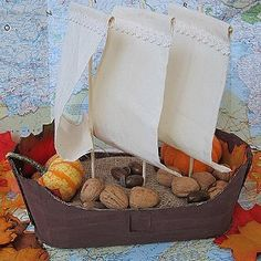Kid Made Mayflower Basket - great idea for Thanksgiving centerpiece