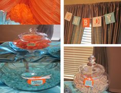 Boy Baby shower orange & aqua