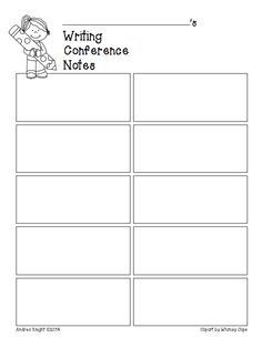 FREE: Reading and Writing Conference Notes (Teacher Recording Sheets)