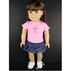 2 Pc Denim Skirt Outfit with a Pink T-shirt Designed for 18 Inch Doll Like the American Girl Dolls Shoes Sold Seperate --- http://www.pinterest.com.welik.es/31y