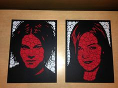 ButtonArtMuseum.com - Todd Slater Jack and Meg White Button Poster Set Rob Jones Limited Run of 333