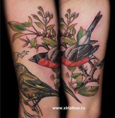 Arm Realistic Bird Tattoo by XK Tattoo