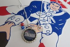 New England Patriots Personalized Football Necklace, Pats in Super Bowl