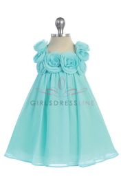 Aqua Chiffon A-line Simple Infant Flower Girl Dress CB-611-AQ