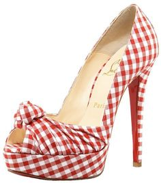 Red and white gingham Louboutin heels