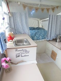 Sweet Meas Home-Made Vintage: Pop Up Camper Make Over DIY Tips ... Holy moly, I never thought about putting a glamping spin on a pop-up! This is adorable!
