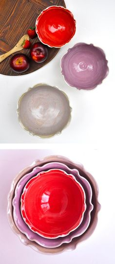 Lee Wolfe Pottery — Nesting Bowl Set in red, lavender, and gray