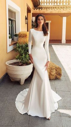 Wedding Dress Inspiration - Long sleeve simple wedding gown ,wedding dresses #weddinggowns #weddingdress