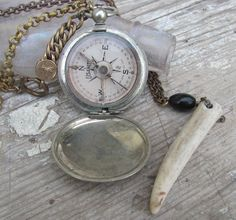 antique 1917 compass vintage pocket watch