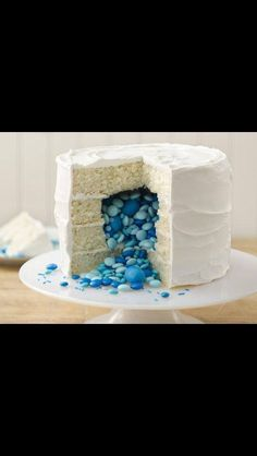 gender reveal party ideas -would be so funny to do the interior icing the opposite color, pull the knife out slightly for a tease, and have the right color come spewing out of the cake!