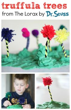 Truffula Trees Craft from The Lorax toddler crafts, truffula tree, earth day, dr suess, tree crafts, spring crafts, craft ideas, dr seuss, kid